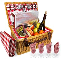 Upgraded 4 Person XL Picnic Basket - Insulated Wicker Hamper - Dishwasher Safe Plates, Wine Glasses, Flatware Set and…