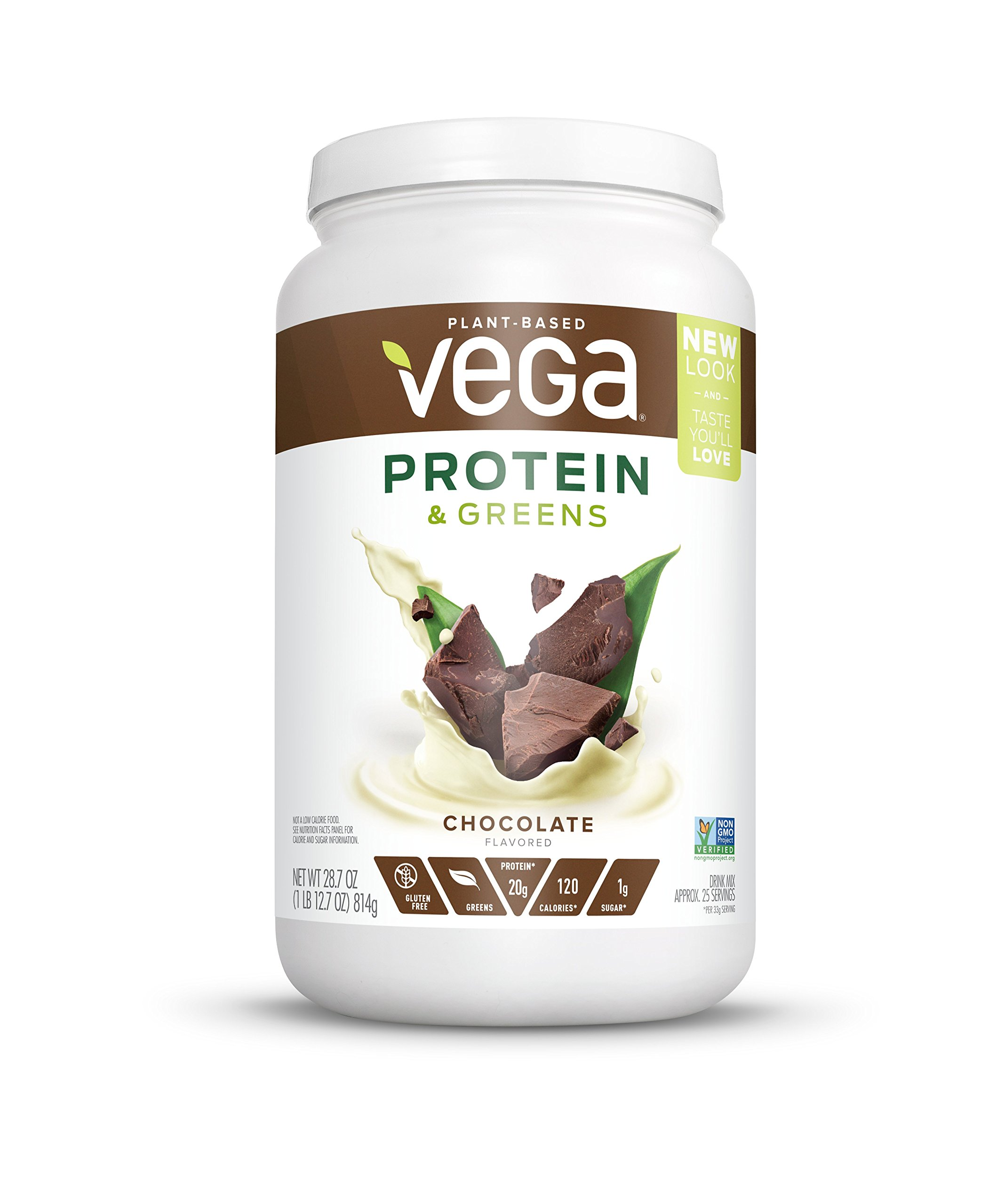 Vega Protein & Greens Chocolate (25 Servings, 28.7 Ounce) - Plant Based Protein Powder, Keto-Friendly, Gluten Free,  Non Dairy, Vegan, Non Soy, Non GMO, Lactose Free by VEGA