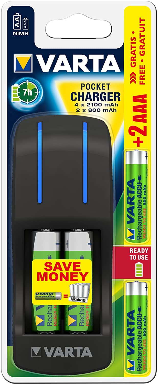 VARTA Pocket Charger - Cargador de Pilas AA y AAA (Incluye 4 Pilas Recargables AA de 2100 mAh y 2 AAA de 800 mAh)