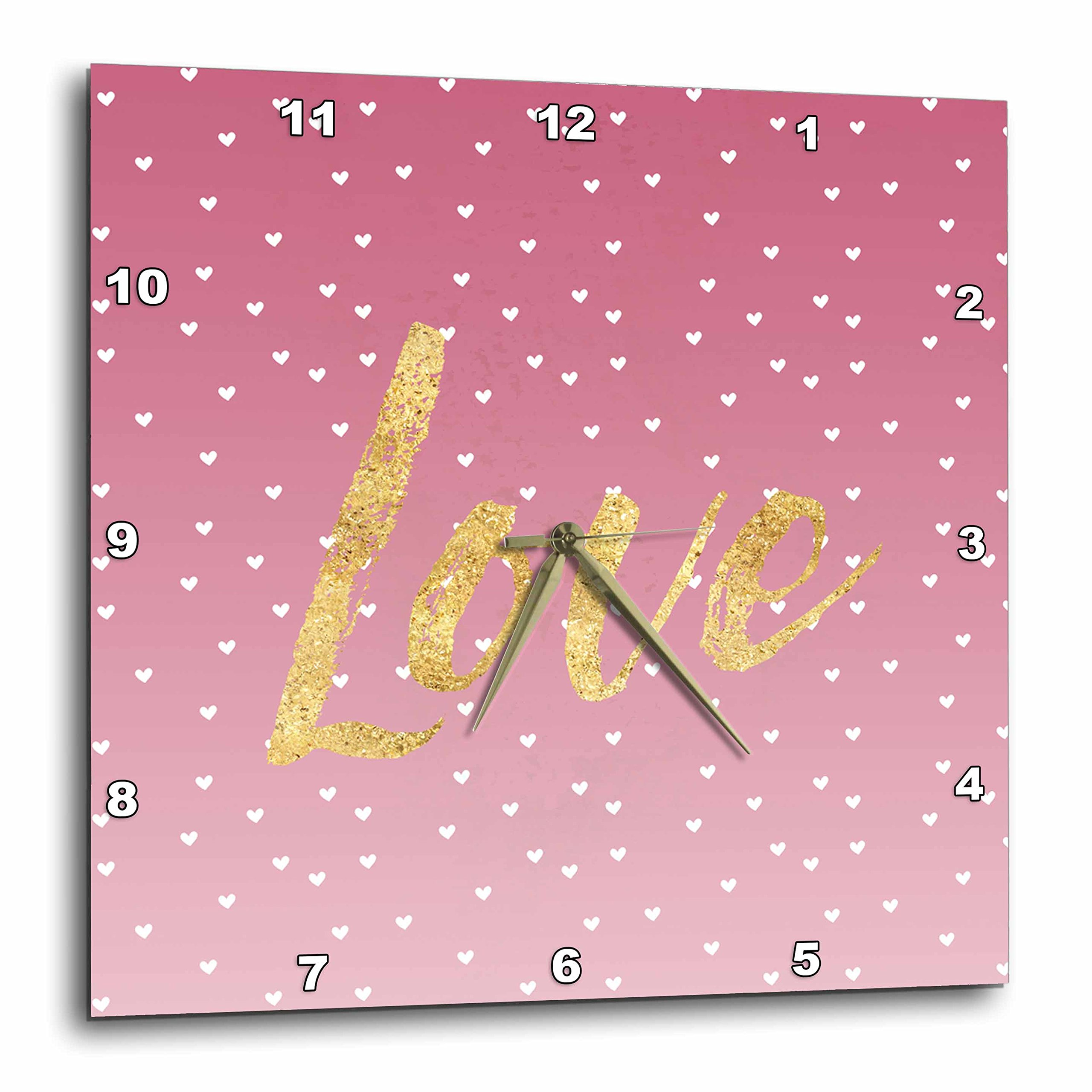 3dRose PS Inspiration - Image of Pink White Hearts Gold Love - 13x13 Wall Clock (dpp_280704_2)