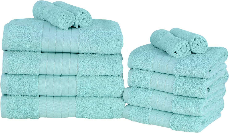Dreamscene 12 Piece Towel Bale Set 100/% Cotton Soft Bath Hand Face Set Aqua