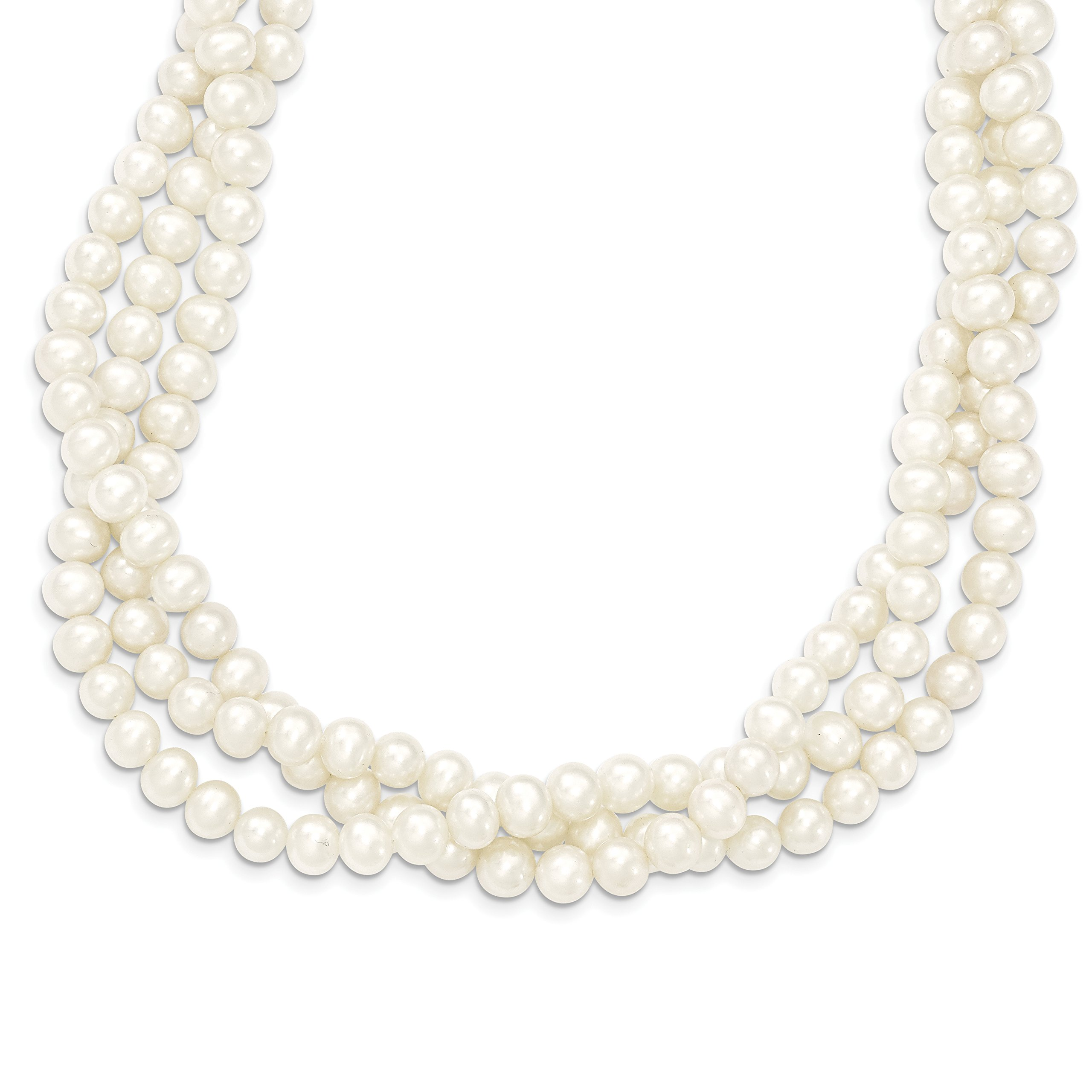 ICE CARATS 14k Yellow Gold 7mm White Freshwater Cultured 3 Strand Pearl Chain Necklace Fine Jewelry Gift Set For Women Heart