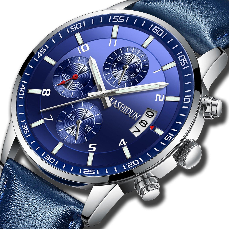 KASHIDUN Men's Watches Sports Military Quartz Wristwatches Waterproof Chronograph Stainless Steel Case Leather Strap Blue Color