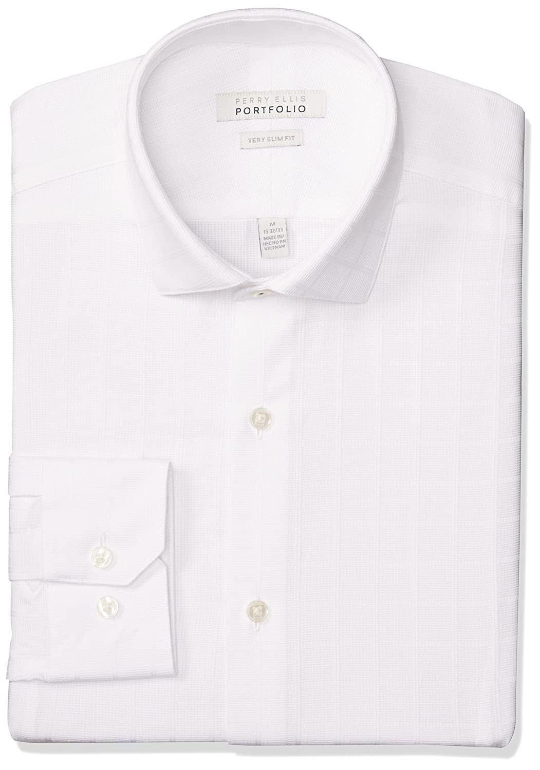Perry Ellis Men's Very Slim Fit Performance White Dobby Dress Shirt at  Amazon Men's Clothing store: