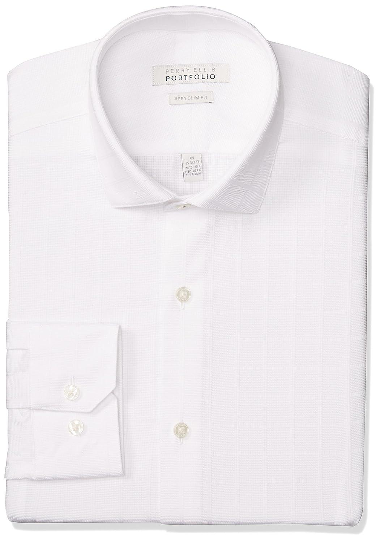 Perry Ellis Men's Very Slim Fit Performance White Dobby Dress Shirt at  Amazon Men's Clothing store: