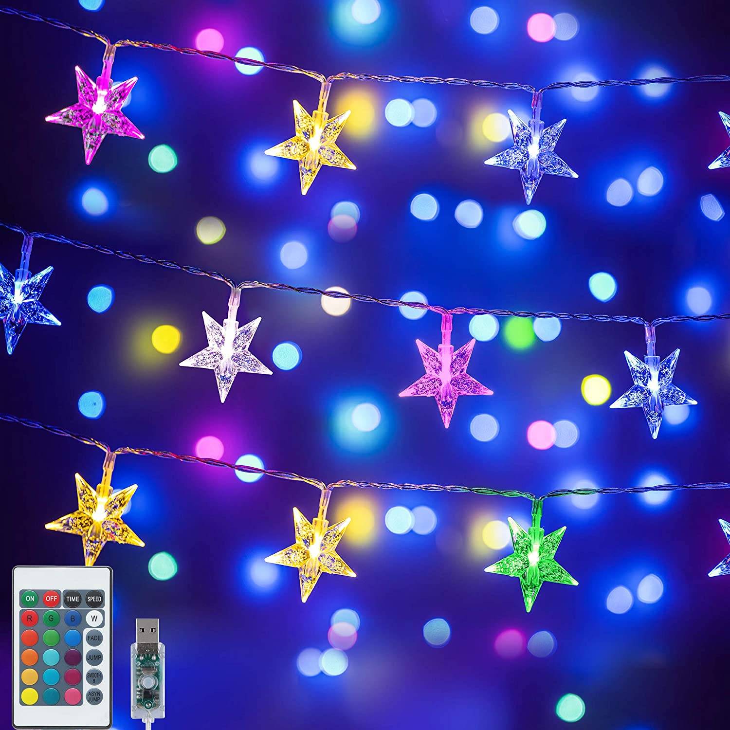 Color Changing Star String Lights,16.4 ft 50 LED USB Powered Star Fairy Lights,Indoor Hanging String Lights with Remote Control for Girls Kids Bedroom Dorm Party Christmas Decor- 16 Colors