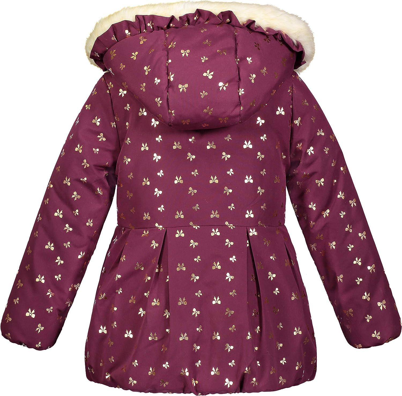 London Fog Girls Matte Shimmer Satin Faux Fur Bottom and Hood Jacket
