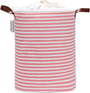 Sea Team 19.7 Inches Large Sized Waterproof Coating Ramie Cotton Fabric Folding Laundry Hamper Bucket Cylindric Burlap Canvas Storage Basket with Stylish Pink & White Stripe Design
