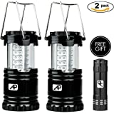 AretePro 2 Pack Outdoor LED Camping Lantern, Brightest 30 LEDs, Water Resistant, Collapsible, 6 AA Batteries Included, Portable Lantern For Camping, Hiking, Emergencies, Bonus - 9 LED Mini Flashlight