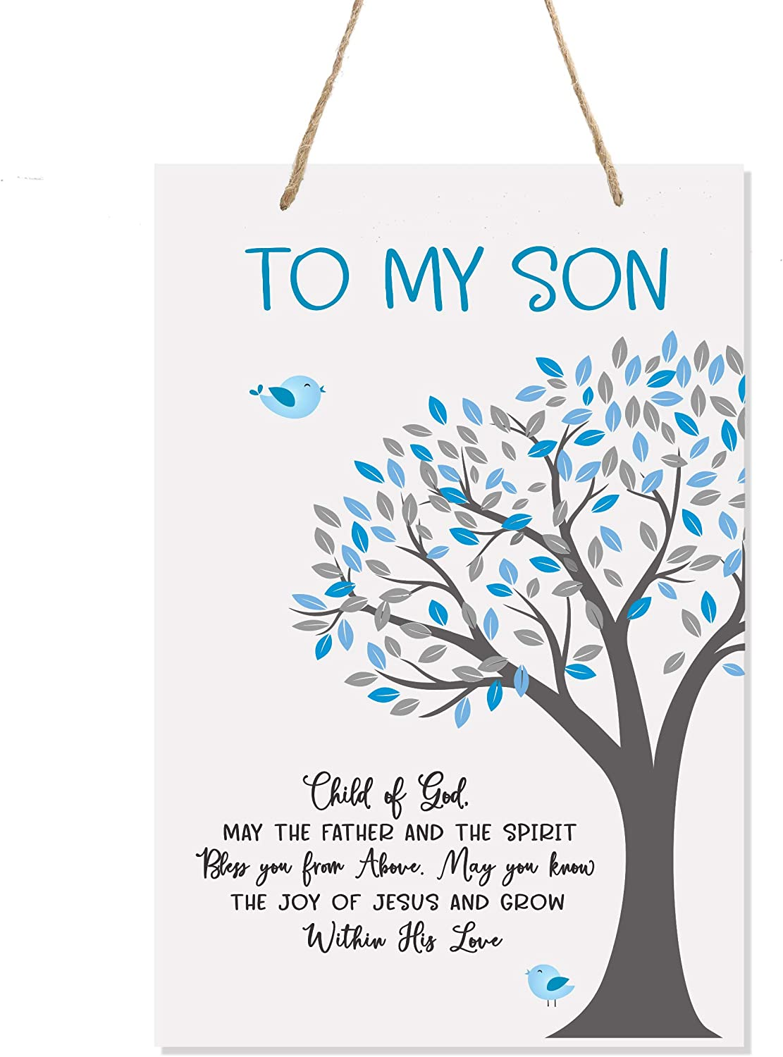 LifeSong Milestones Nursery Decor for My Son or Daughter - Girls and Boys Happy Birthday Wishes Gift Ideas Father and Spirit - Wall Hanging Sign from Mom and Dad 8x12 (Son)