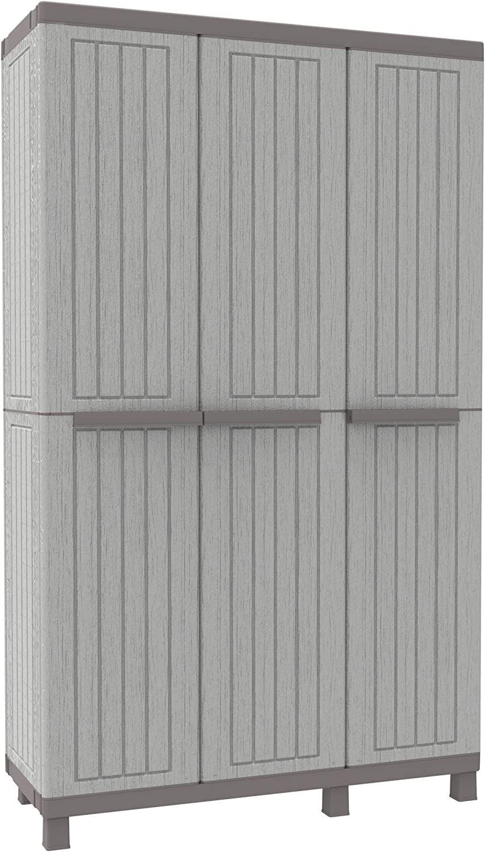 Terry 1102720 C-Wood 102A - Armario triplo con 3 puertas, 3 baldas regulables y 1 gancho, Plástico, Gris, 102 x 39 x 170 cm