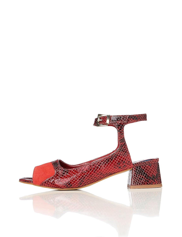 FIND Sandalen Damen Schlangenleder-Effekt Knöchelriemchen  37 EU|Mehrfarbig (Red Print)