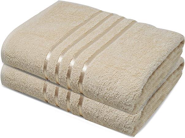 Towelogy® Juego de toallas de baño 100% algodón egipcio orgánico Jumbo extra absorbentes 500 g/m² (beige natural, paquete de 2): Amazon.es: Hogar