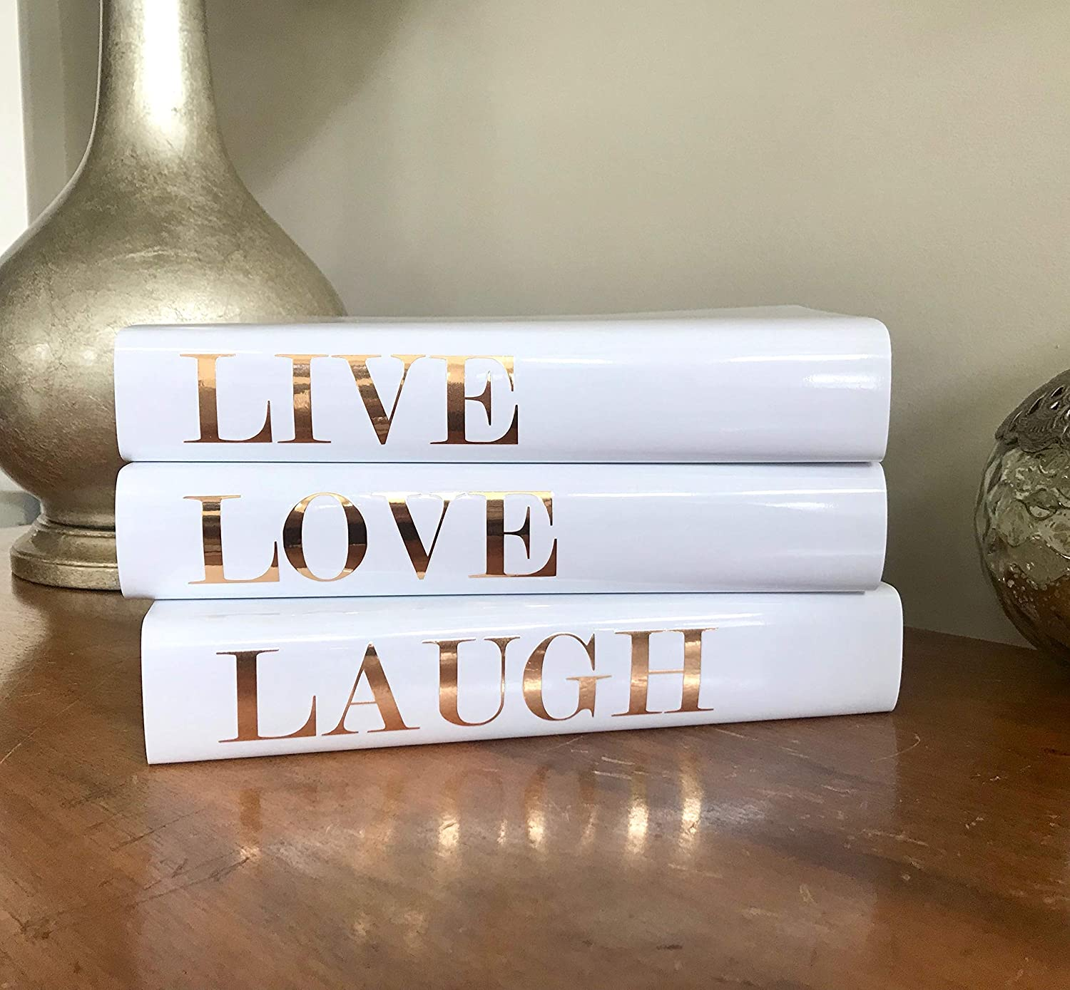 Amazon Com Live Love Laugh Decorative Books Gold Silver Books For Display Coffee Table Books Designer Book Stack Decor Handmade