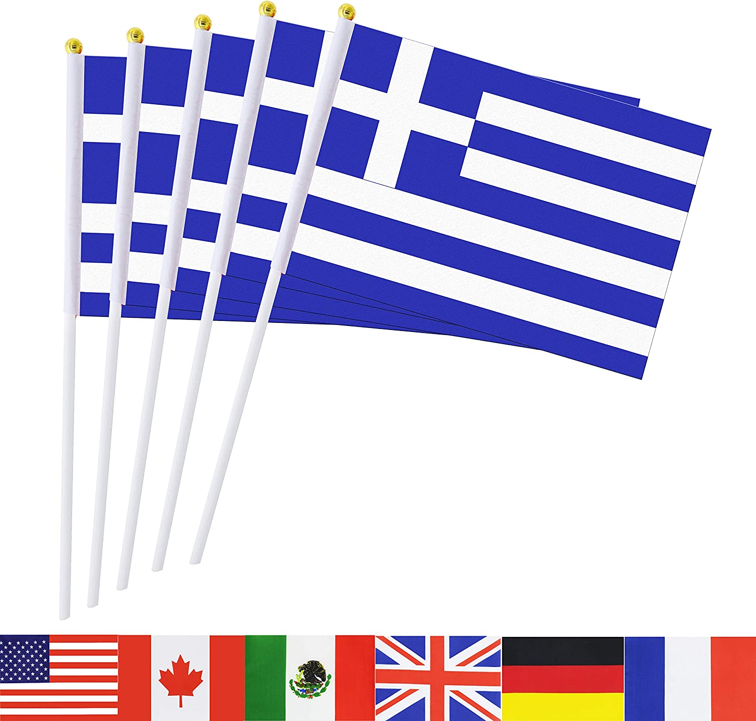TSMD Greece Stick Flag, 50 Pack Hand Held Small Greek National Flags On Stick,International World Country Stick Flags Banners,Party Decorations for Olympics,Sports Clubs,Festival Events Celebration