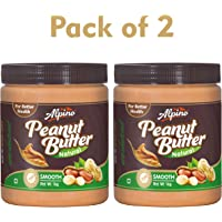 Alpino Natural Peanut Butter Smooth 2kg (Unsweetened) (1kg Pack of 2)