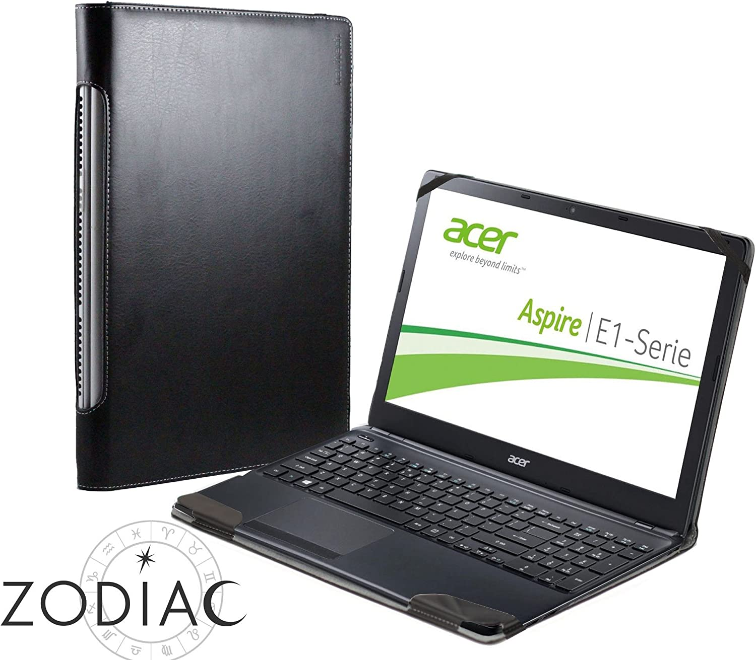"""Navitech Black Leather Folio Case Cover Sleeve Compatible with The ACER Aspire One Cloudbook 14"""" Laptop"""