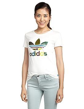 Adidas Trefoil tee - Camiseta para Mujer, Color Blanco/Verde / Amarillo/Negro, Talla 38: Amazon.es: Deportes y aire libre