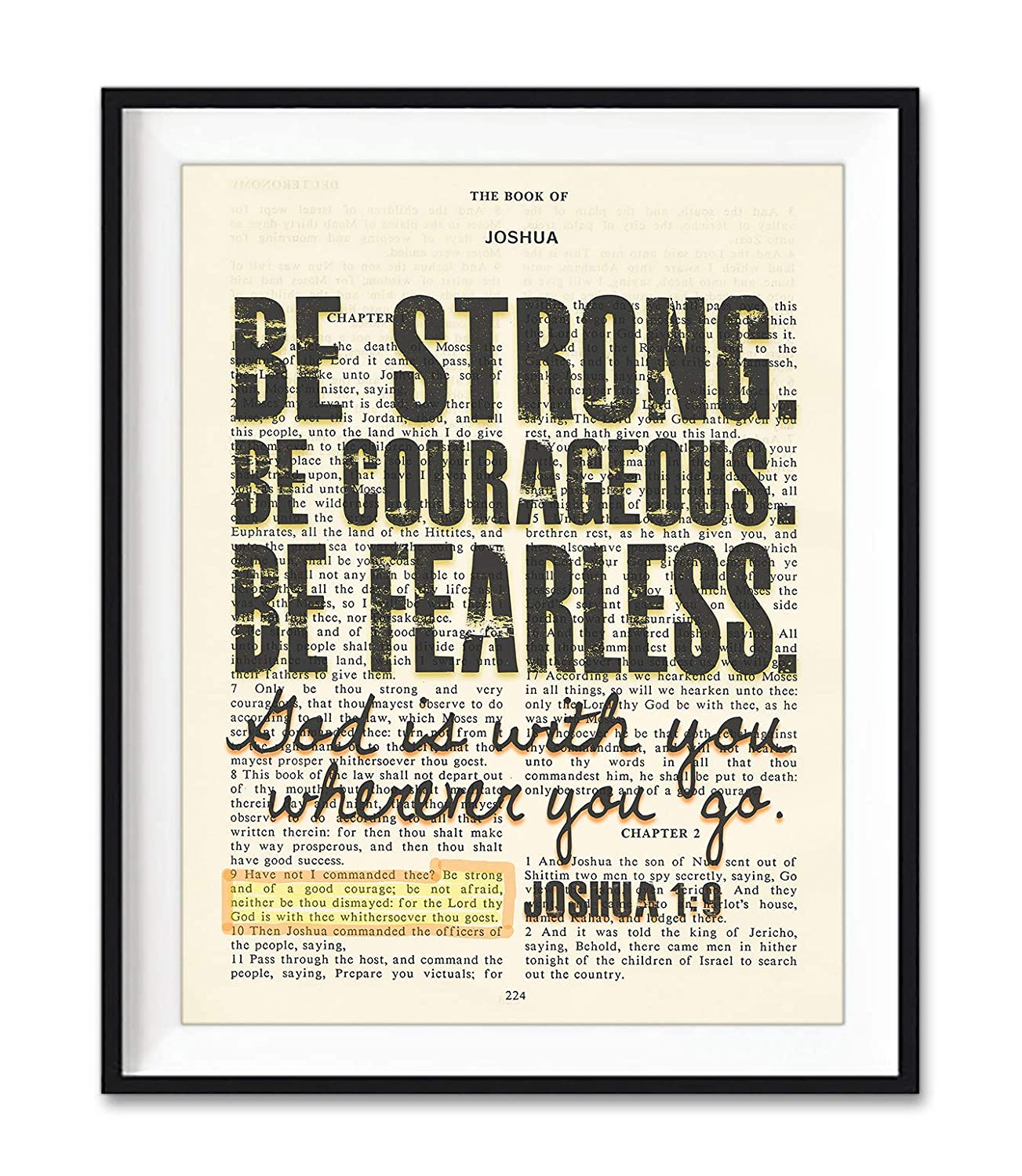 Be Strong. Be Courageous. Be Fearless. Joshua 1:9 Christian Unframed Reproduction Art Print, Vintage Bible Verse Scripture Wall and Home Decor Poster, Inspirational Gift, 5x7 inches