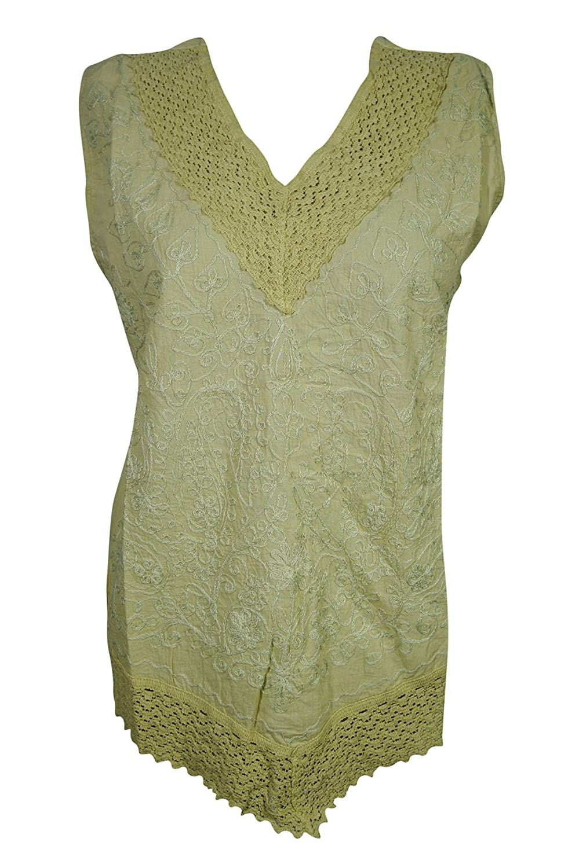 a5c58b3f6ba51 Boho Chic Women s Blouse Sleeveless Cotton Embroidered V-Neck Lace Trim  Gypsy Top Large  Amazon.co.uk  Clothing