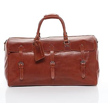 FEYNSINN® grand sac de voyage PHOENIX - grand XL fourre-tout besace week-end - sac sport bagages cabine à main homme femme châtain clair cuir ulI7HFrje
