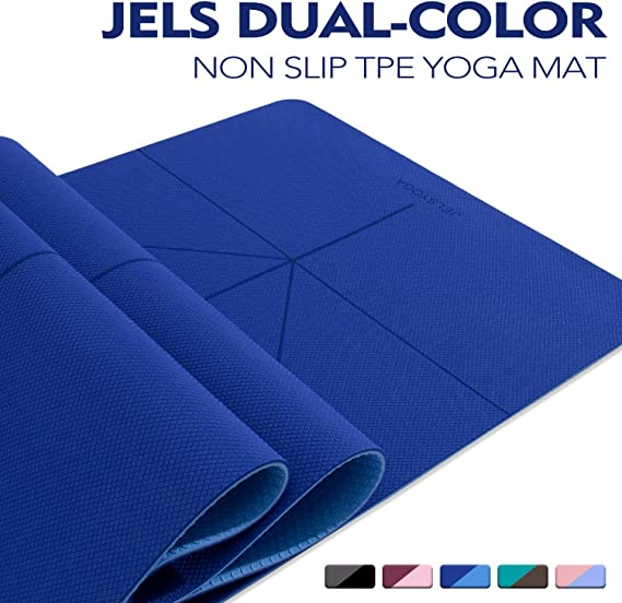 TENOL JELS Yoga Mat Non Slip Dual-Color Eco Friendly Yoga Mat Thick Exercise & Workout Mat with Free Carry Strap for Yoga Pilates and ...