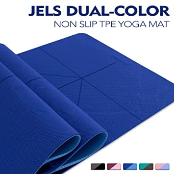 TENOL JELS Yoga Mat Non Slip,Dual-Color Eco Friendly Yoga Mat Thick Exercise & Workout Mat with Free Carry Strap for Yoga, Pilates and ...