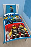 Lego City 2070039 Housse de Couette 140 x 200 x 40 cm + Taie d'Oreiller 63 x 63 cm Coton Bleu/Rouge