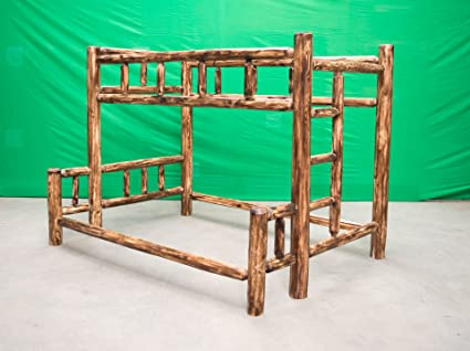 Amazoncom Midwest Log Furniture Torched Cedar Log Bunkbed Twin