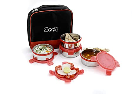 ZooY Royal 4 Containers Lunch Box  Red, Black   1000 Ml  Kitchen Storage   Containers