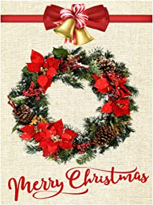 """Wamika Merry Christmas Wreath Red Poinsettia Burlap Garden Flag 12""""x18"""" Xmas Tree Jingle Bell Welcome Winter Snowflake Double Sided Outdoor Flag Banner New Year Rustic Garden Yard House Decorations"""