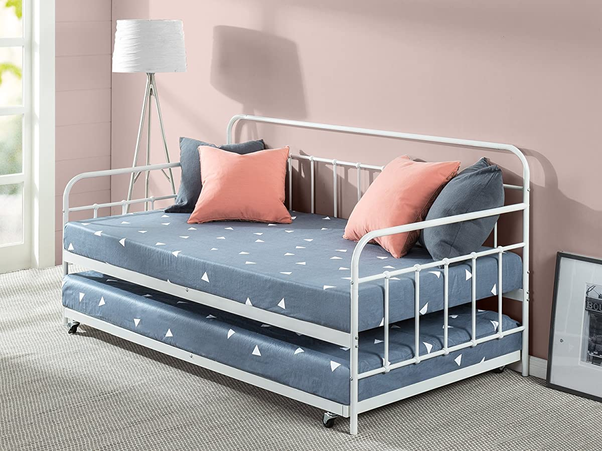 Zinus Florence Twin Daybed and Trundle Frame Set / Premium Steel Slat Support / Daybed and Roll Out Trundle Accommodate / Twin Size Mattresses Sold Separately
