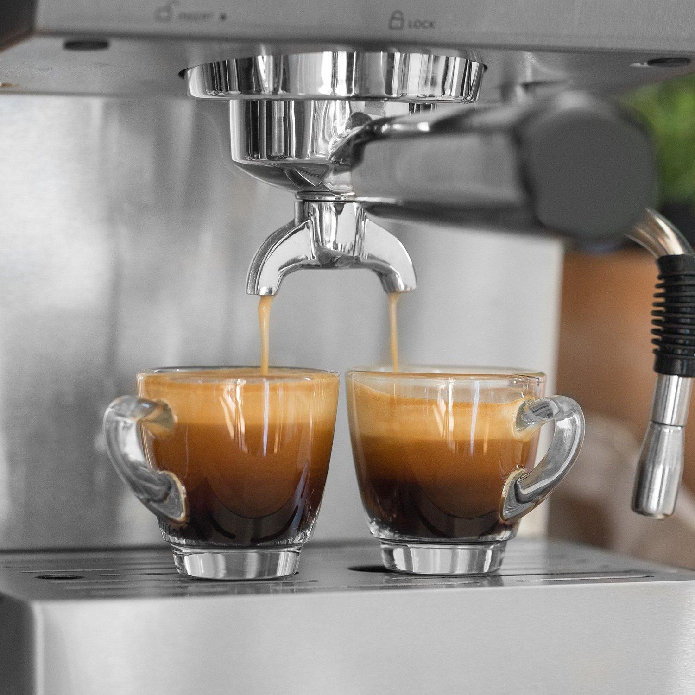 Cafetera Expreso de Acero Emilia | 1140 W, 15 Bares, 1,5 L | con filtro, Máquina para café con función de espumador para leche y támper + Gratis ...