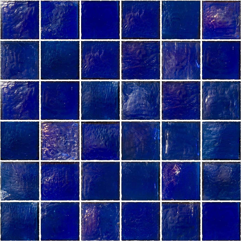 - Susan Jablon Mosaics - 2x2 Inch Cobalt Blue Iridescent Glass Tile