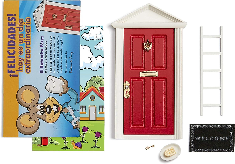 🐭 Ratoncito Pérez : Puerta Mágica Roja + Escalera + Plato + QUESO + Felpudo + Llave + Dibujo Fondo de Puerta + Postal de Felicitación+ dibujo para anotar y pintar las