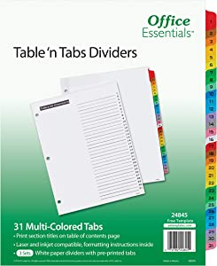 Office Essentials Table 'n Tabs Dividers, 8-1/2