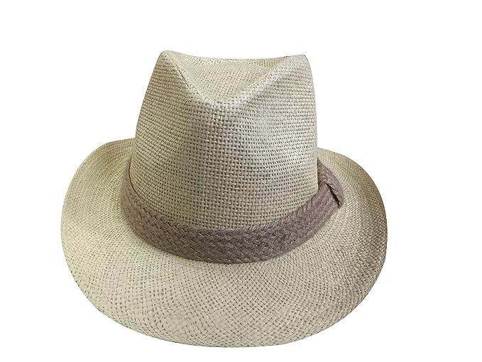 yuelian paja sombreros de Panamá Fedora Ala Banda Cowboy playa Sun Sombrero 32a48c09c16