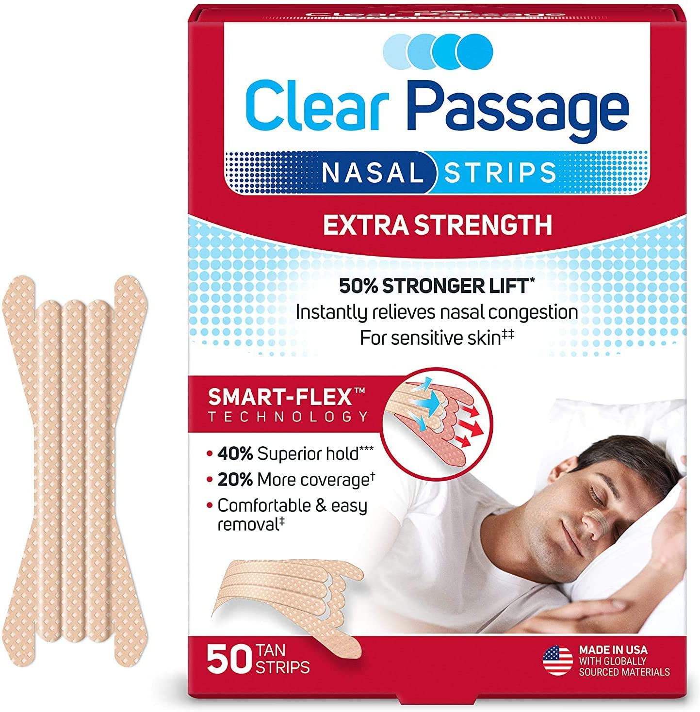 Clear Passage Nasal Strips Extra Strength, Tan, 50 Count | Works Instantly to Improve Sleep, Reduce Snoring, Relieve Nasal Congestion Due to Colds & Allergies