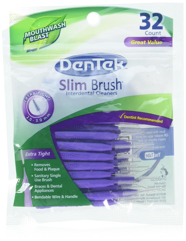 Dentek Slim Brush 32 Count Deep Clean Tight Teeth (3 Pack)