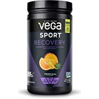 Vega Sport Recovery Tropical (20 Servings, 19oz) - Vegan, Non Dairy, Gluten Free, Pre Workout Recovery, BCAAs, Non GMO (Packaging May Vary)