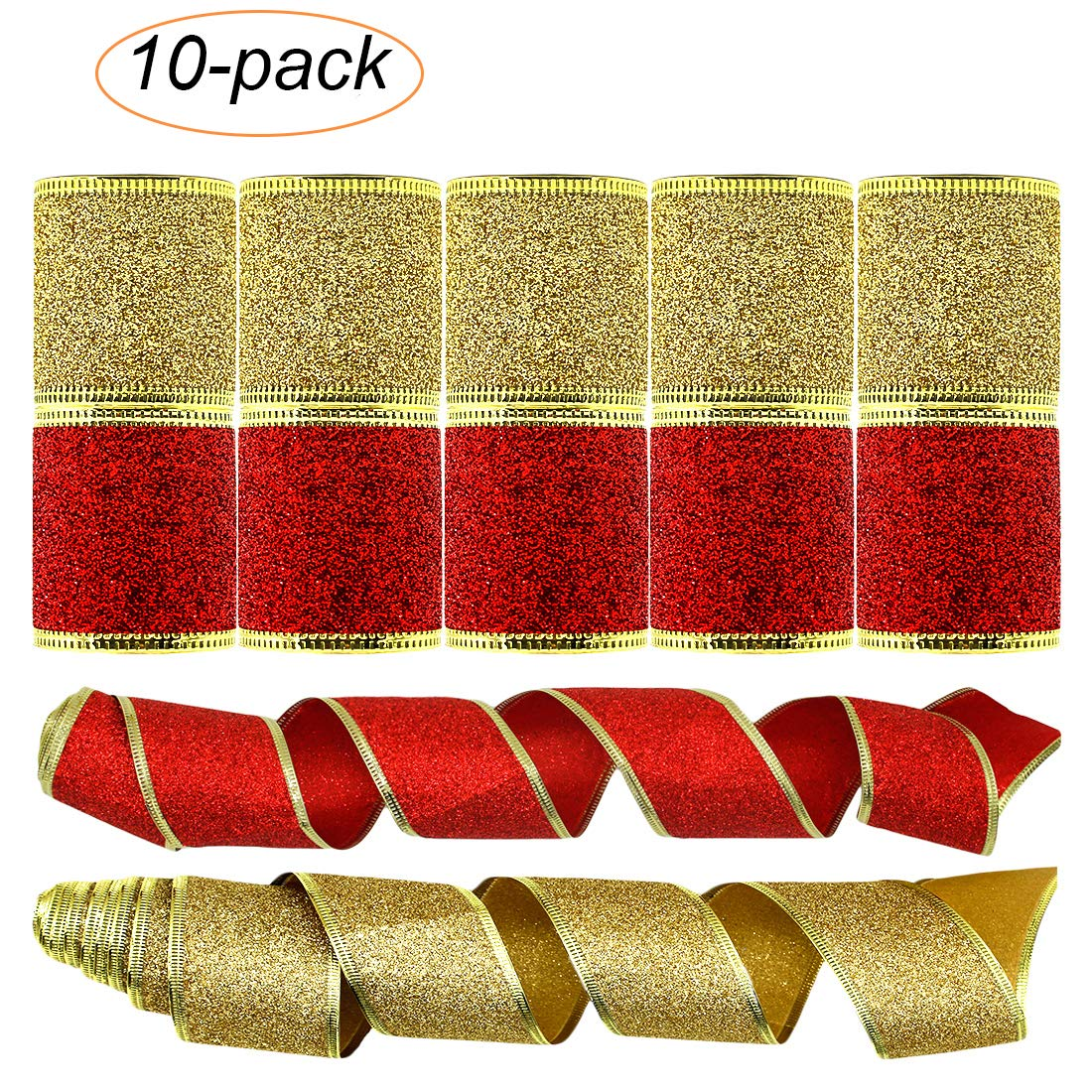 Shinybaby Decorations Wedding Ribbon, Wired Edge Holiday Shimmer Fabric Glitter Gift Wrapping Ribbons DIY Craft Wedding Decorations, 20 Yards (10 Roll x 2 yd) by 2inch, gold Red