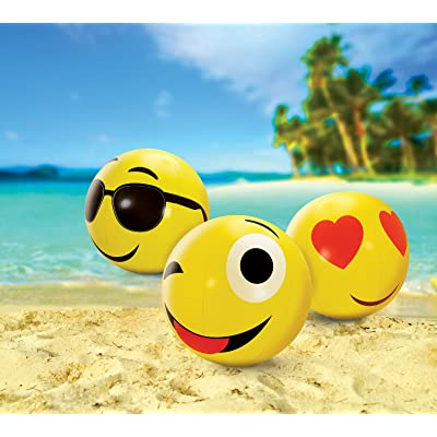 "Kovot Large Emoji Beach Balls Set of 3 - Includes (3) 24"" Emoji Style Beach Balls and Foot Pump: Toys & Games"