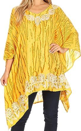 NEW YELLOW TIE DYE BATIK PRINT KAFTAN SUMMER TUNIC DRESS SIZES 16 TO 34