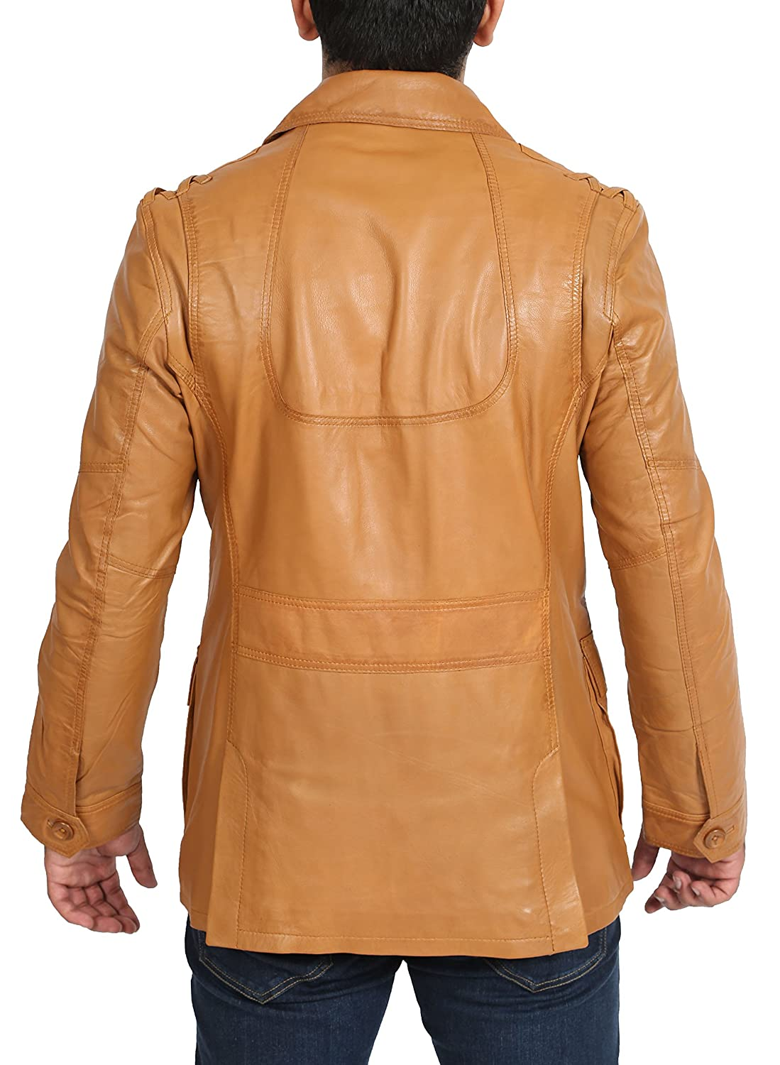 Mens Fitted Tan Blazer Leather Jacket Classic Reefer Button Box NEW Leather Coat