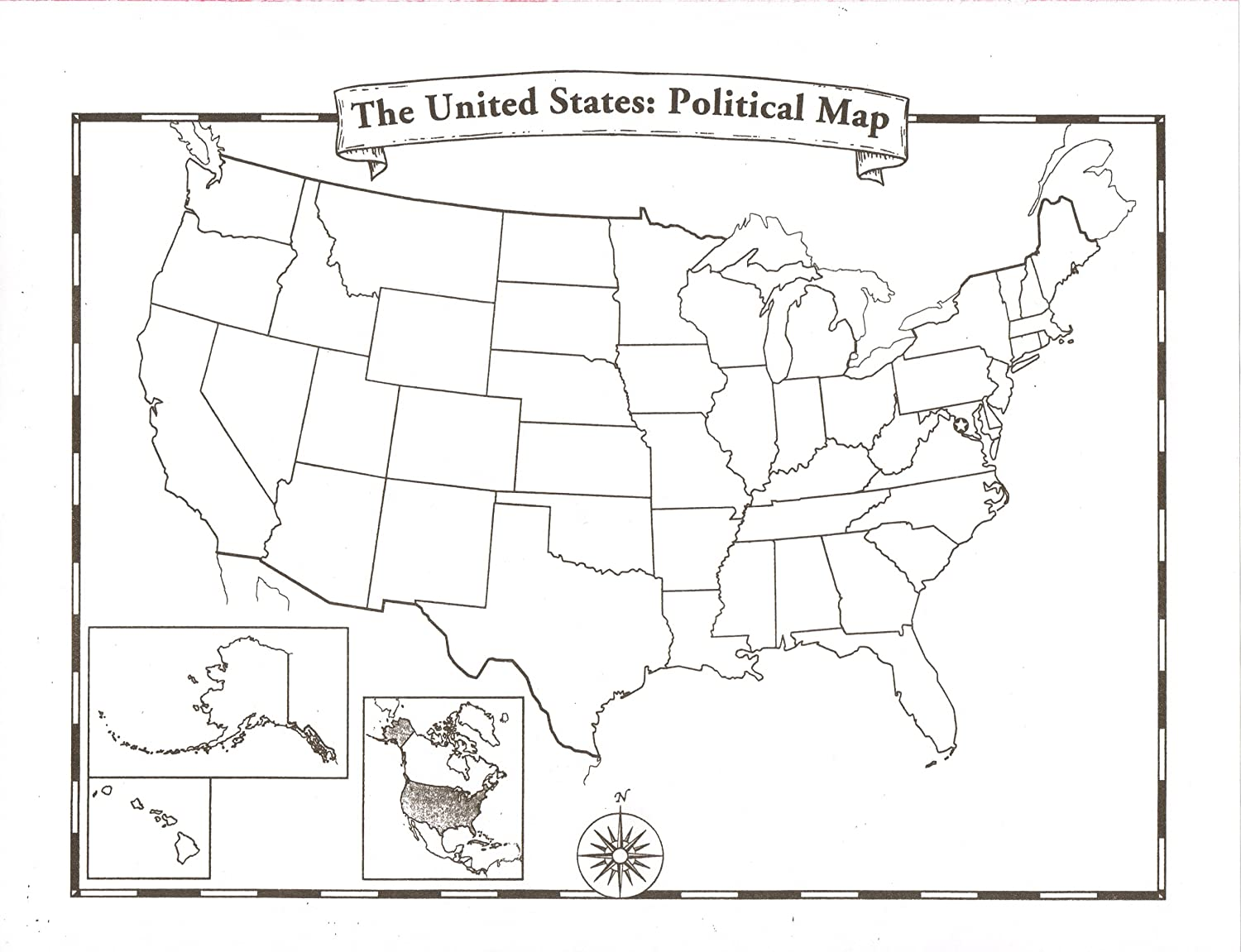 Amazon Com Blank U S A Map Decorative Paper Office Products
