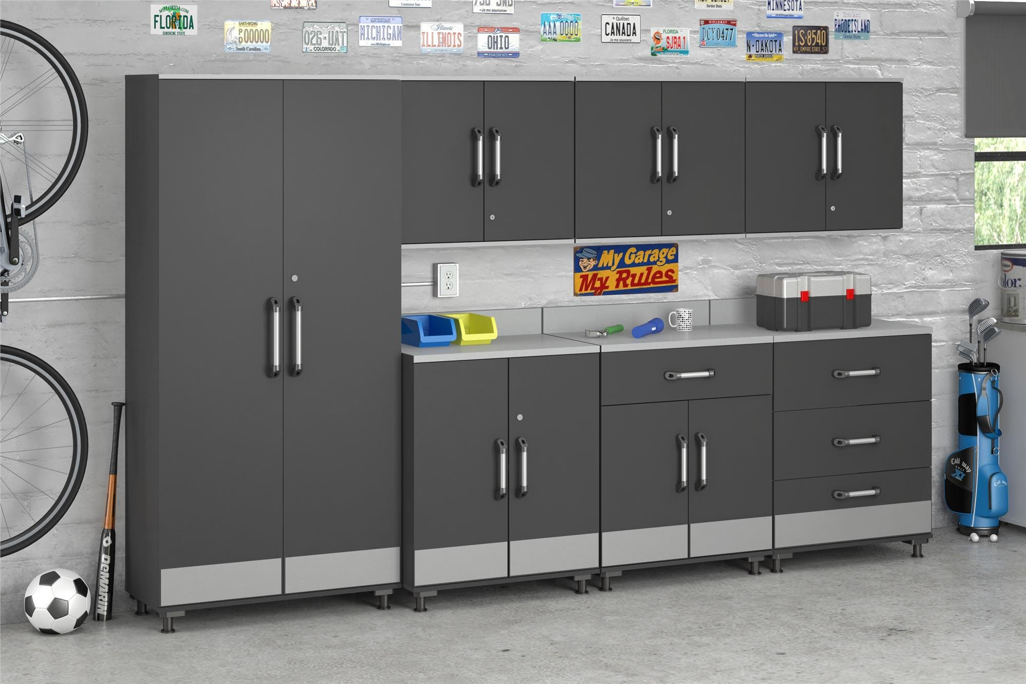 Ameriwood Home Boss -Base Cabinet 2 Door, Charcoal Gray by Ameriwood Home (Image #3)