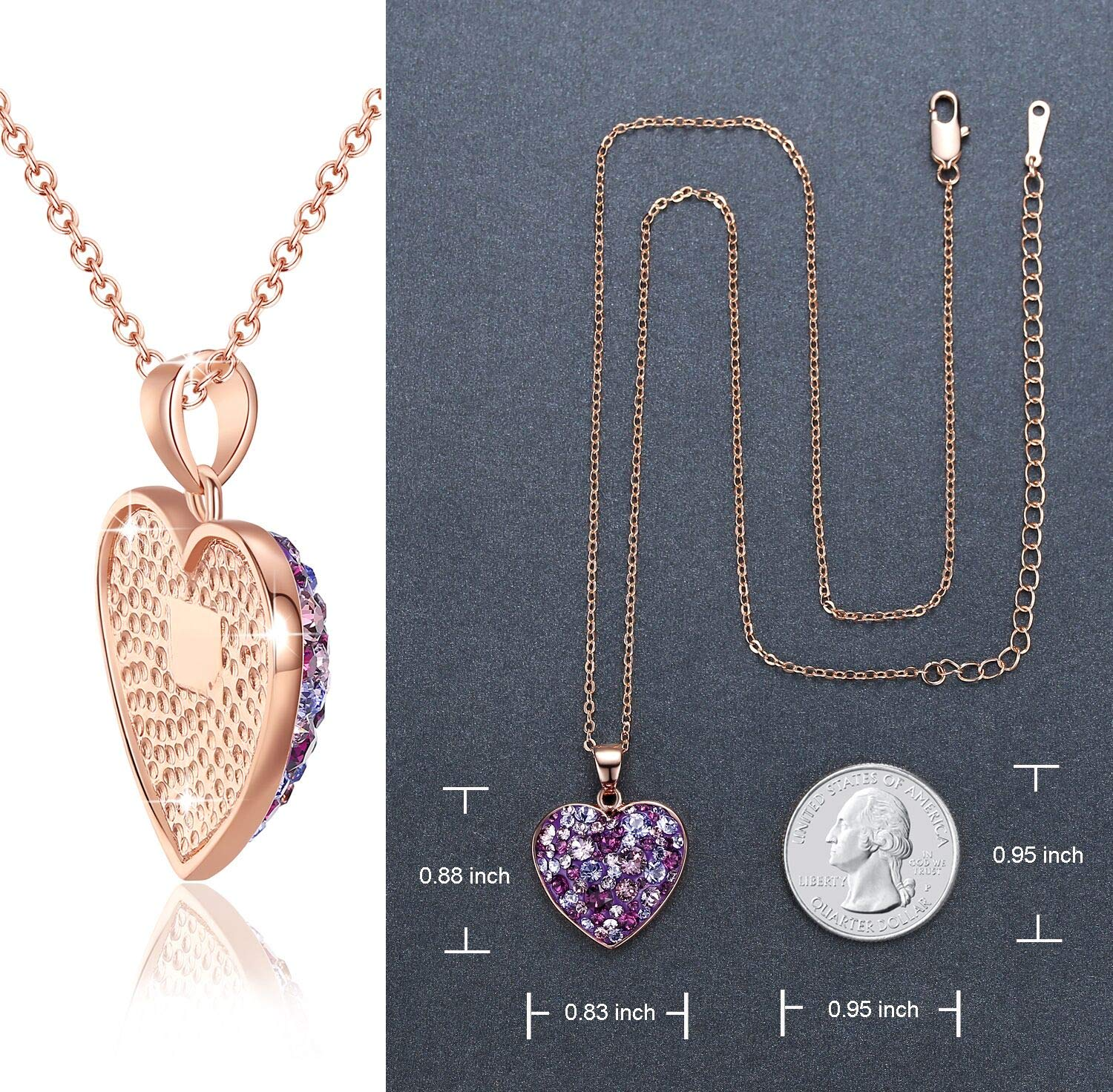 Esottia Multi-Stone Heart Pendant Necklace Fill Your Heart with Love Made with Swarovski Crystals 18K Rose Gold Plated 18''+2'' Love Heart Necklace Color Purple for Girlfriend Wife Mother Daughter by Esottia (Image #4)