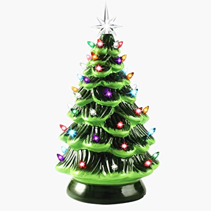 Joiedomi 15 Tabletop Prelit Ceramic Christmas Tree With Multicolor Bulbs Christmas Decorations