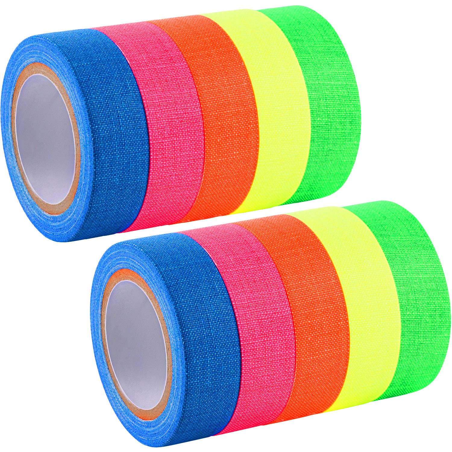 Jovitec Spike Tape Fluorescent Adhesive Tapes Gaffer Tape UV Blacklight Reactive Neon Tapes for Parties Art Craft Decorations, 5 Colors (10 Rolls)