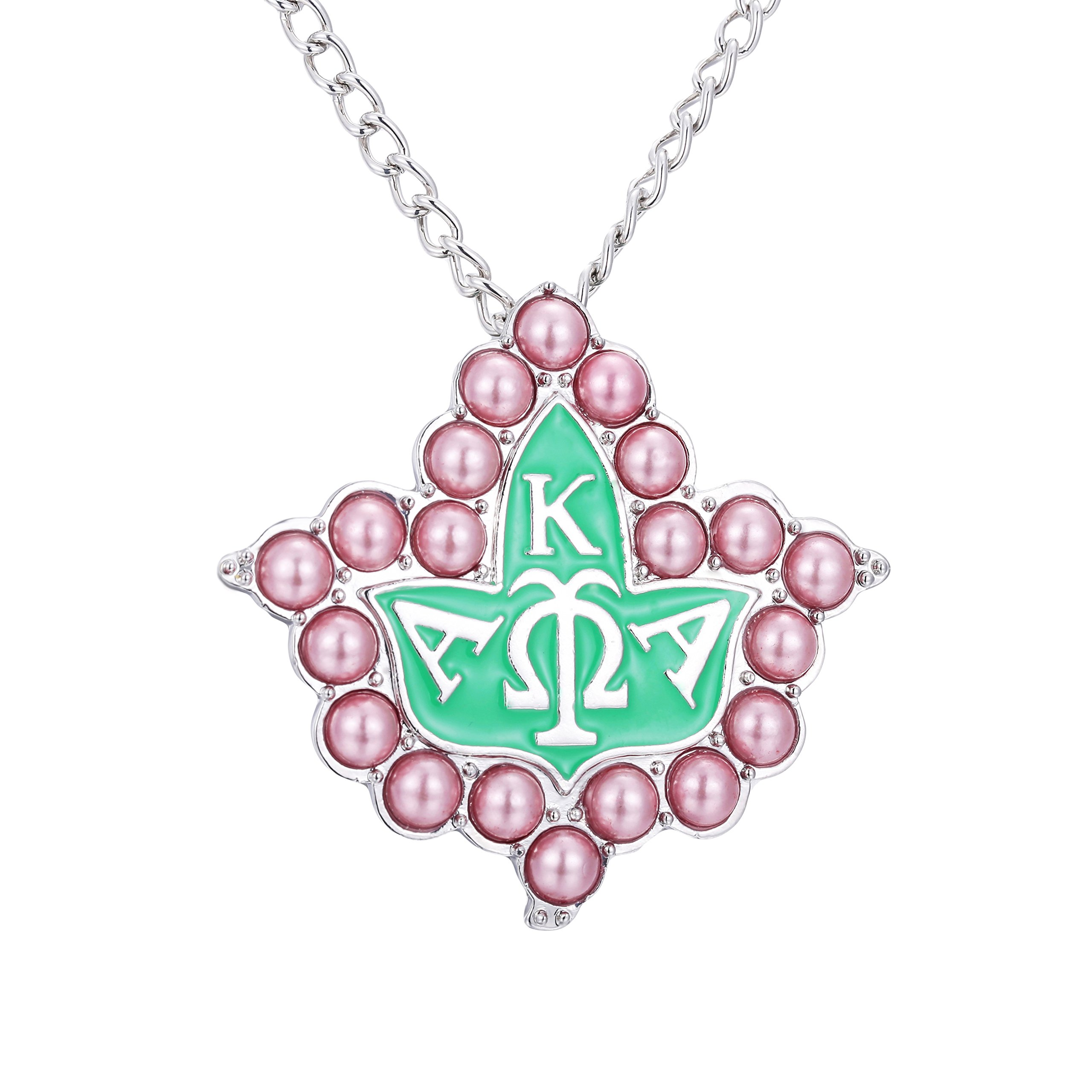KINGSIN Vintage Pearl Crystal Brooch for Women AKA Sorority Graduation Gifts Alpha Kappa Alpha Paraphernalia Jewelry Leaf Pendant Necklace Chain by KINGSIN (Image #1)